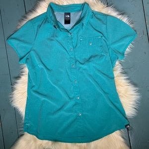 The North Face turquoise ventilated button-down